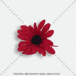 FLORAL 148 FABRIC RED DAISY